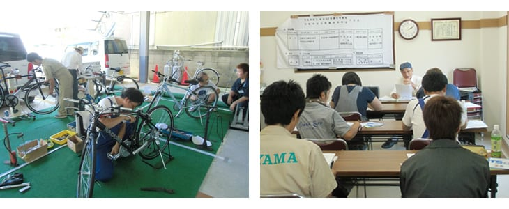 自転車組立、安全整備技能試験の様子